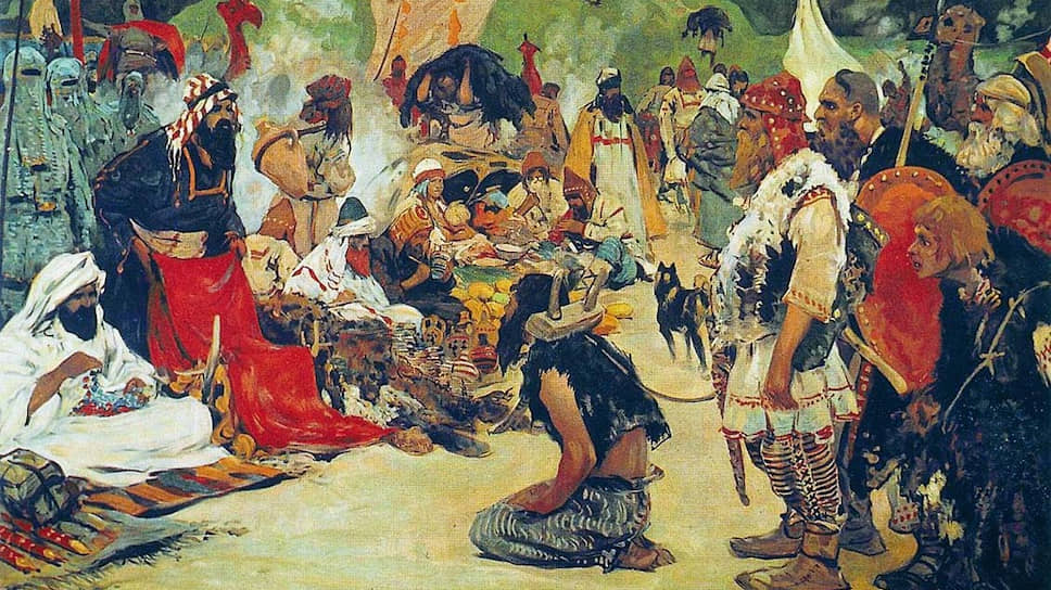 Так художник Сергей Иванов увидел торг (в том числе рабами) в глубокой древности