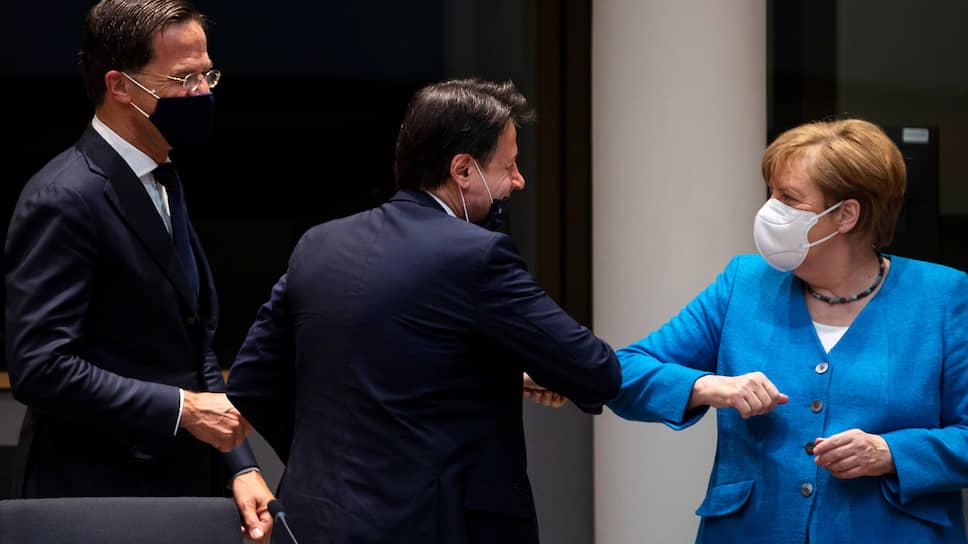 Европу теперь не узнать: канцлер Германии Ангела Меркель и премьер Италии Джузеппе Конте на первом постковидном саммите Евросоюза