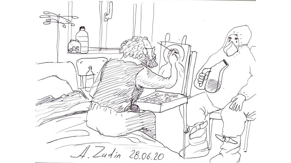 Рисунок художника-карикатуриста Александра Зудина, посвященный коронавирусу COVID-19. Александр создал целую серию работ, находясь в больнице
