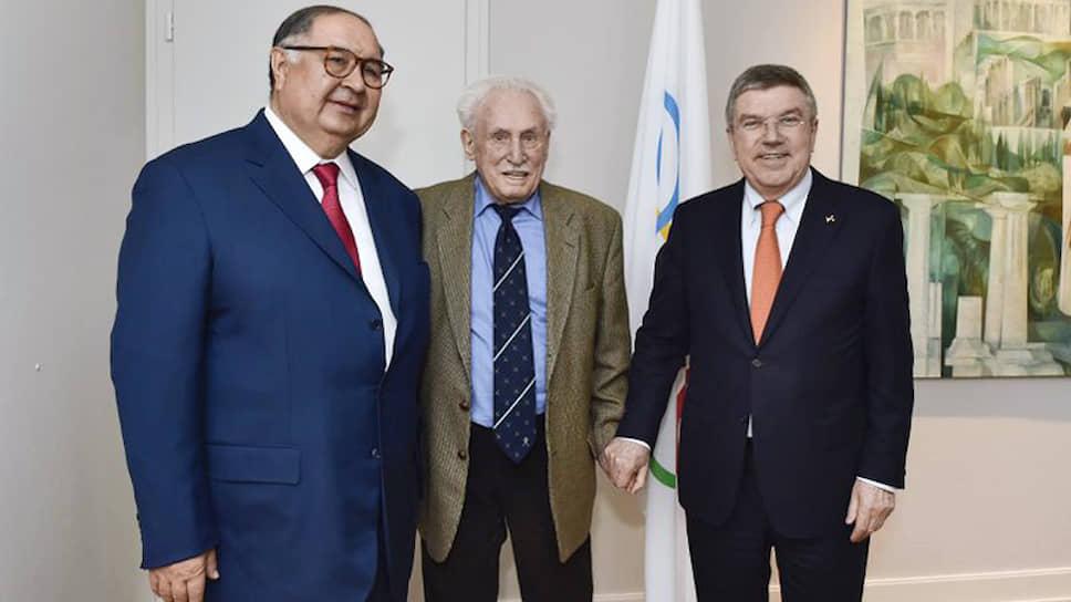С президентом FIE Алишером Усмановым и президентом МОК Томасом Бахом