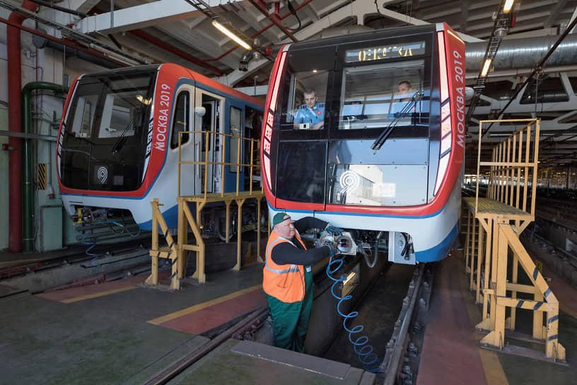Поезда в электродепо «Выхино»