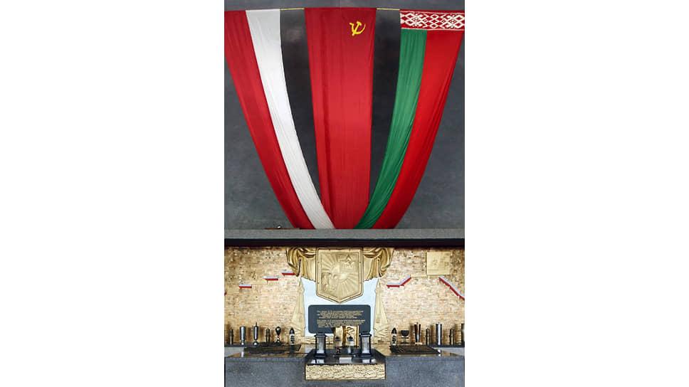 Мемориал советско-польского боевого содружества в Ленино. На стеле стрелками показан путь 1-й польской дивизии — от лагеря под Рязанью до первого боя