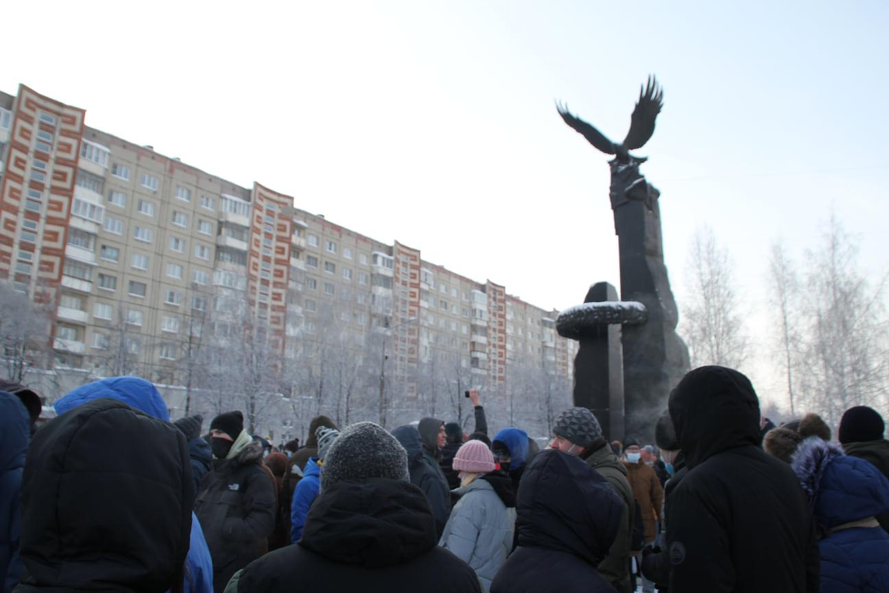Несогласованное шествие в поддержку оппозиционного политика Алексея Навального в Челябинске 23 января