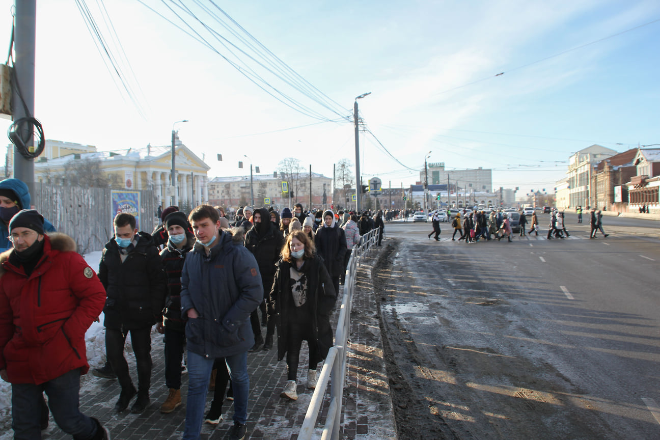 Несогласованная акция в поддержку оппозиционера Алексея Навального в Челябинске 31 января