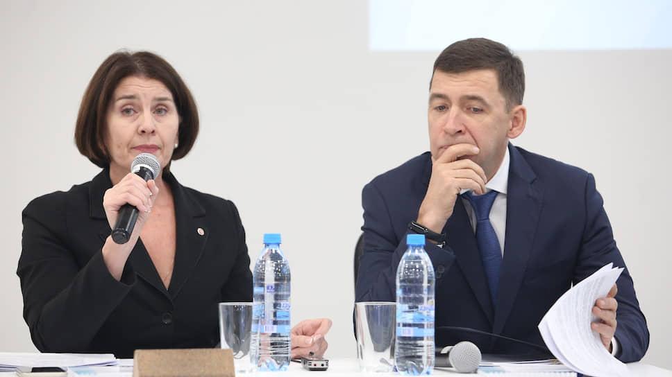 Свердловский бизнес-омбудсмен Елена Артюх (слева) дала губернатору Евгению Куйвашеву (справа) возможность услышать мнение предпринимателей