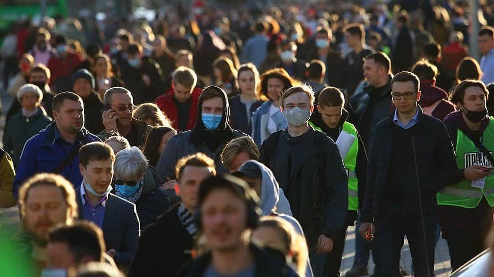 Несогласованная акция в поддержку оппозиционера Алексея Навального в центре Екатеринбурга