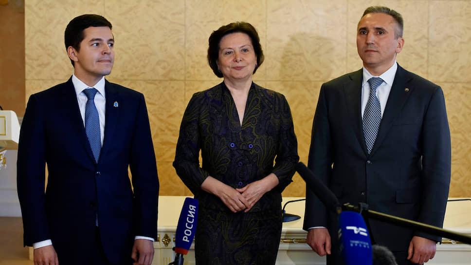 Наталья Комарова с главой Ямала Дмитрием Артюховым и   главой Тюменской области Александром Моором