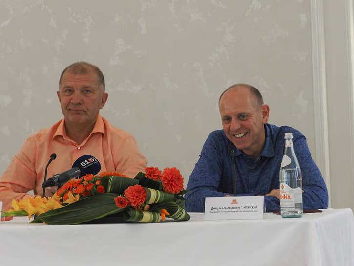 Президент футбольного клуба «Урал» Григорий Иванов (слева) и председатель совета директоров футбольного клуба «Урал» Дмитрий Пумпянский (справа)