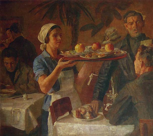 Художники фиксировали самые разные аспекты жизни уралмашевцев.  Борис Иогансон. «В заводской столовой». 1935 год
