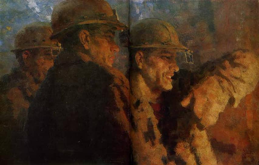 Художники создали целую серию работ, посвященную рабочим Уралмаша   Виктор Зинов. «Сталевары». 1974 год