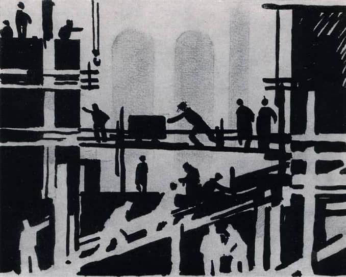 Строительство Уралмаша было одной из знаковых строек в период индустриализации. Поэтому внимание к нему со стороны творческих работников было пристальным изначально.  Олег Бернгард. «Уралмашевский мотив». 1929 год
