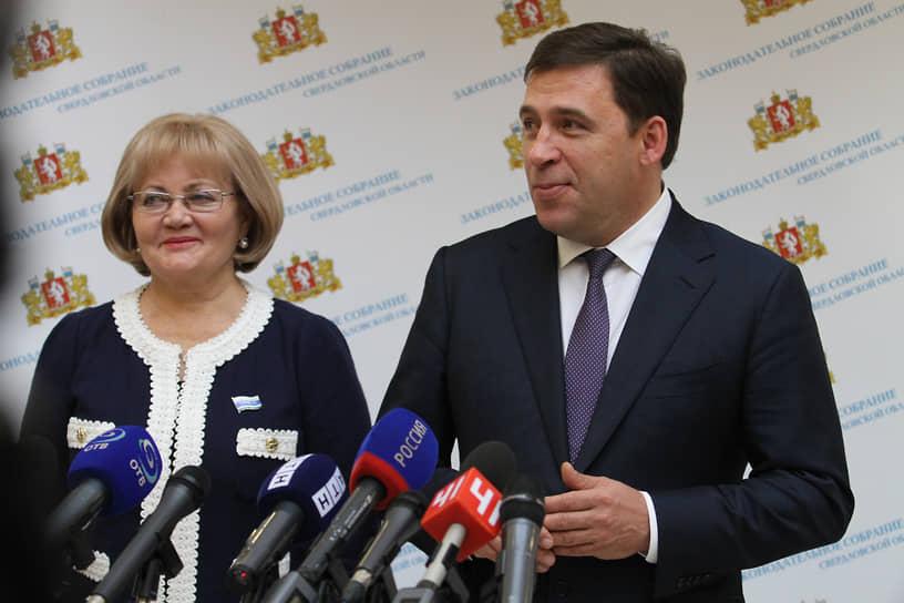 Председатель Законодательного собрания Свердловской области Людмила Бабушкина (слева) и губернатор Свердловской области Евгений Куйвашев (справа). 2015 год