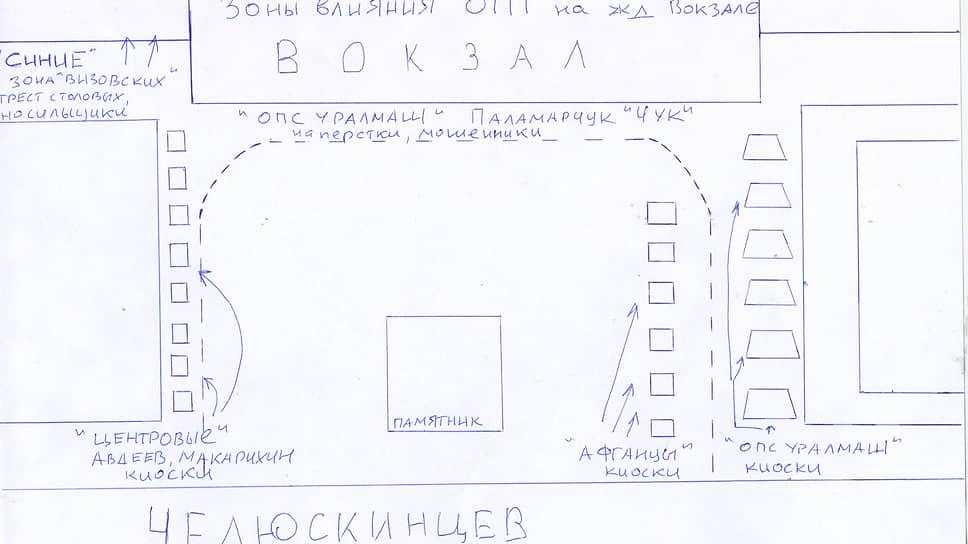 Криминальные группировки всегда пытались делить территорию железнодорожного вокзала Свердловска. На схеме позиция сил на начало 1990-х годов