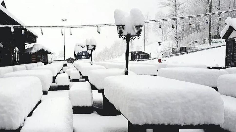 На фото горное Сочи. Отметка 1170 м. За ночь здесь выпало около 30 см снега.