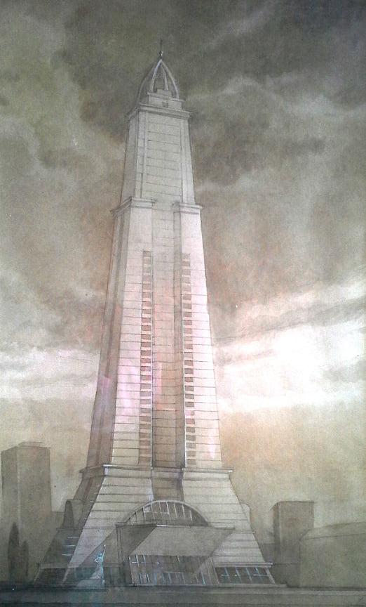 Эскиз 55-этажного небоскреба по улице Красной в городе Краснодаре с реконструкцией здания кинотеатра «Аврора». Идея навеяна романом ВиктораЛихоносова<b>«НашМаленькийПариж. Ненаписанные воспоминания».</b> Здание должно было стать краснодарской «Эйфелевой башней». Для строительства была определена самая высокая точка Краснодара – место, где расположен кинотеатр «Аврора». Однако кризис 2008 года не позволил воплотить планы в жизнь.