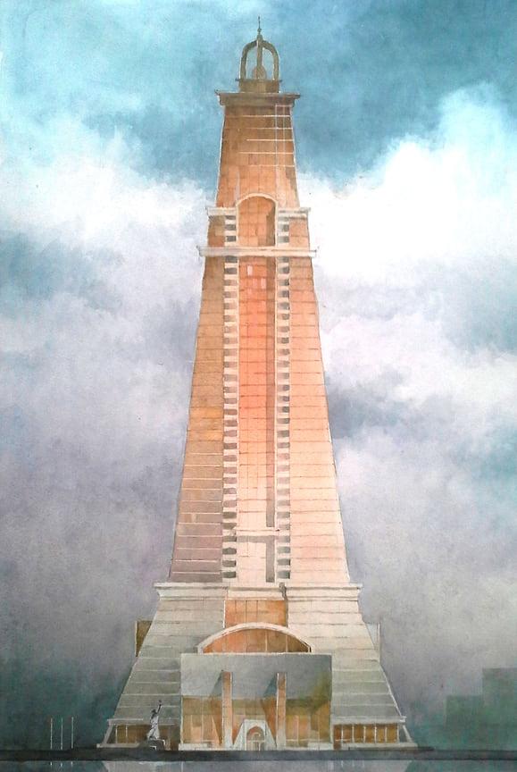 Эскиз 50-этажного офисного здания на месте кинотеатра «Аврора» в Краснодаре. Второй вариант проекта строительства небоскреба.