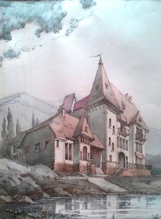 Эскиз гостиничного комплекса «Старый замок» в Горячем Ключе. Просто красивая идея.