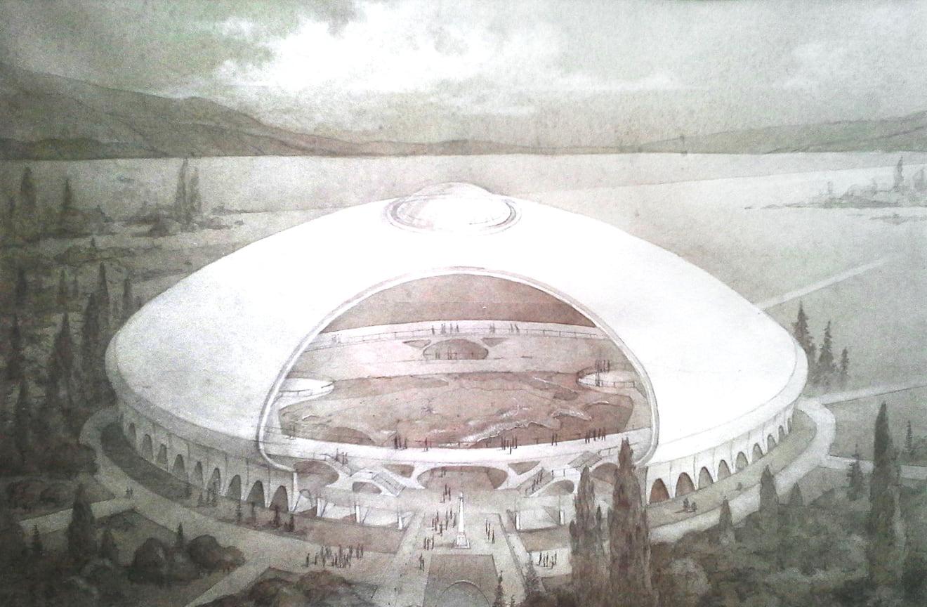 Эскизный рисунок информационно-туристического центра в Республике Крым в районе аэровокзала города Симферополя с размещением макета полуострова в овальном окружении. Идея заключалась в том, чтобы создать самый большой в мире интерактивный макет Крыма и разместить на нем 1500 экскурсионных мест. Пока проект находится на стадии идеи.