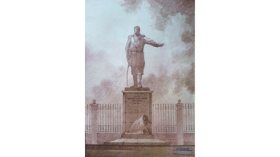 Эскиз памятника основателю Белореченского поселения генерал-адъютанту графу Н.И. Евдокимову.