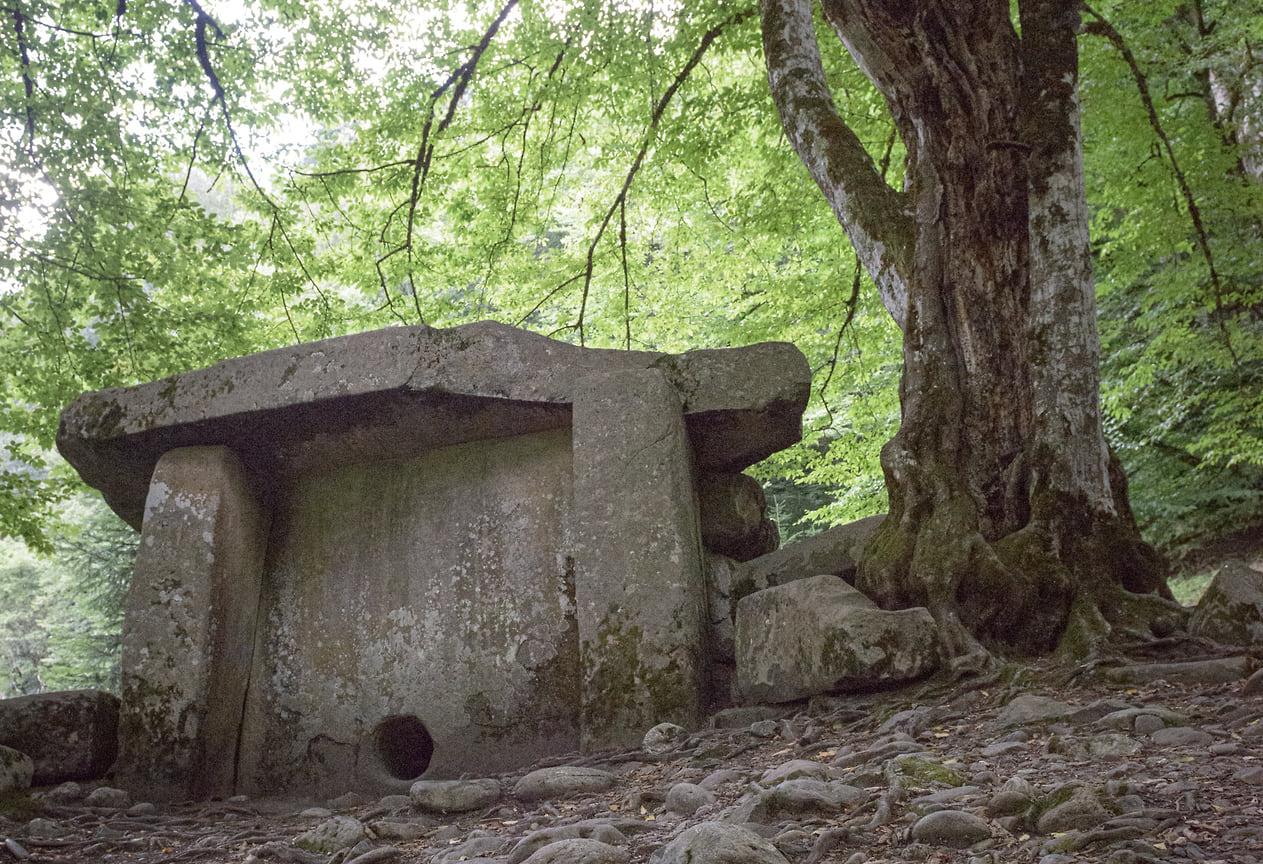 Дольмены — древние культовые строения из огромных каменных плит. Большой дольмен, стоящий недалеко от Музея Кавказского биосферного заповедника, популярен у туристов. Это каменное строение самое крупное на территории заповедника, его высота составляет два метра, а толщина плит — почти 60 сантиметров. Возраст строения — около 5000 лет