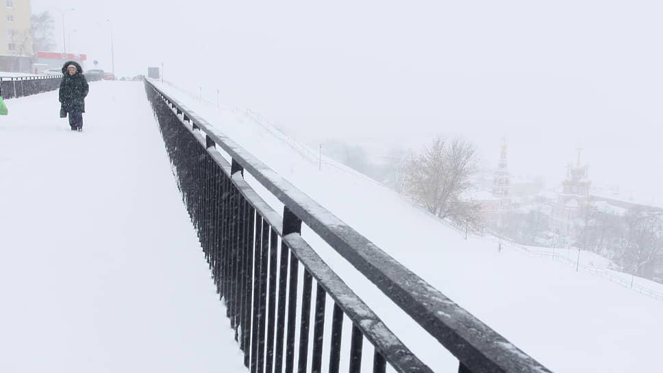 Снегопад только на первый взгляд казался несильным, однако противоположный берег Оки скрылся в сплошной белой пелене