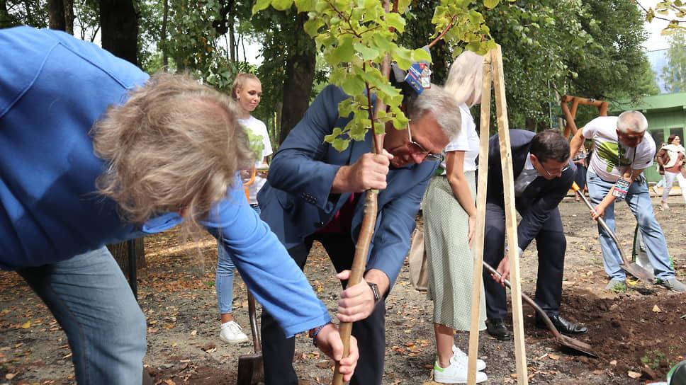 Компенсировать убыль деревьев в день открытия парка постарались чиновники. Председатель Законодательного Собрания Евгений Люлин посадил свою березу