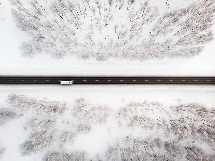 Участок федеральной трассы Р-255 в Новосибирской области