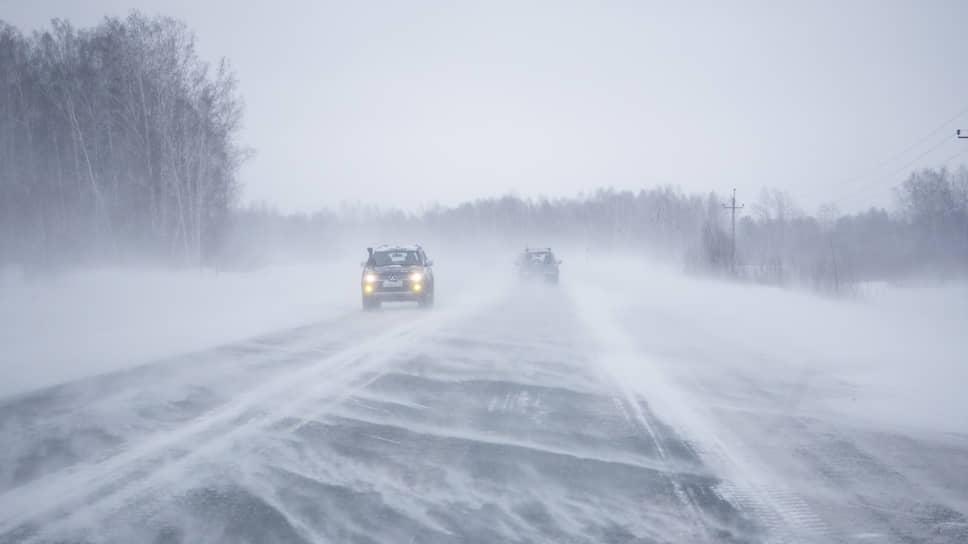 Сильная метель на трассе в Новосибирской области