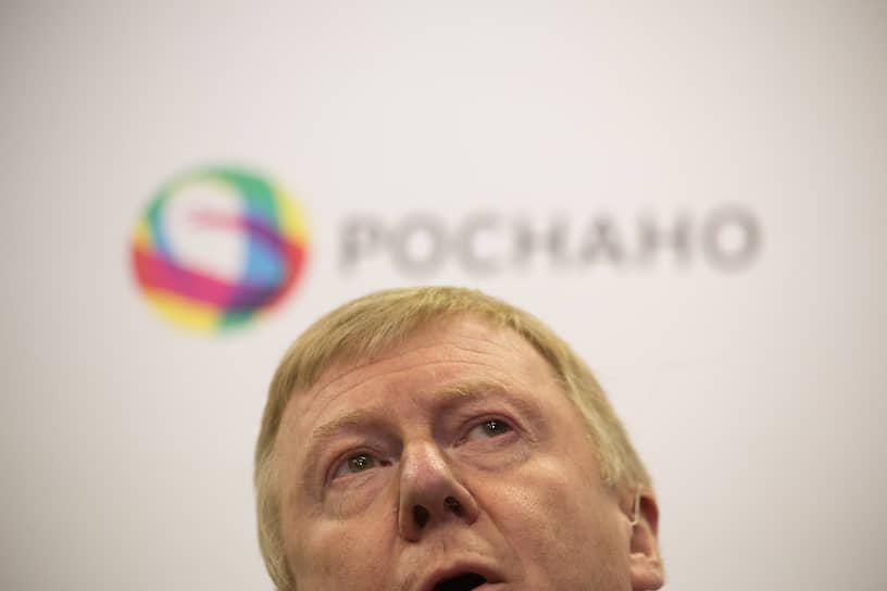 Председатель правления ОАО «Роснано» Анатолий Чубайс на пресс-конференции, посвященной запуску Graphetron 50, крупнейшей в мире установки по синтезу графеновых нанотрубок, в компании OCSiAl в Новосибирске