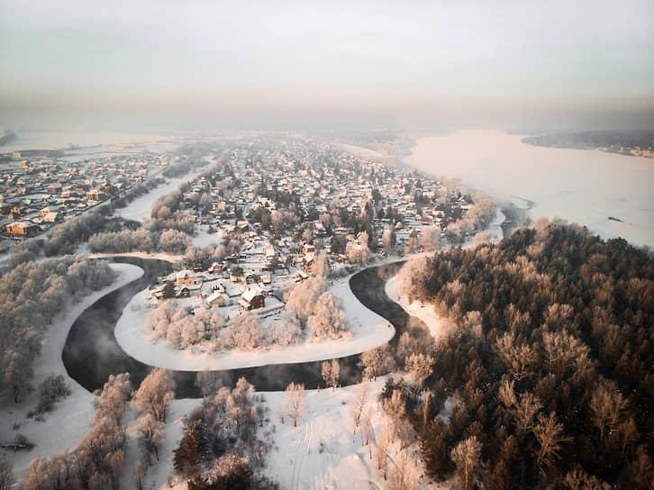 Виды Новосибирской области с высоты во время сильных морозов