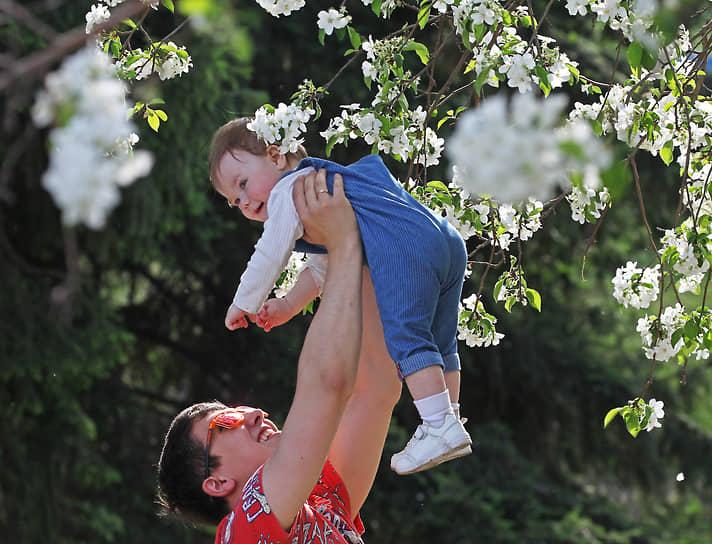 Мужчина играет со своим ребенком на фоне цветущей яблони в одном из скверов в Барнауле
