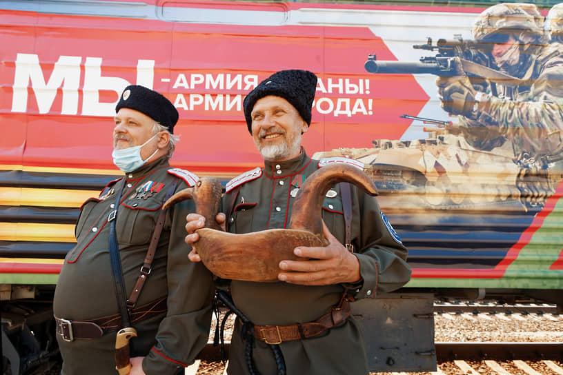 Церемония встречи агитационного поезда Министерства обороны России «Мы — армия страны, мы — армия народа» на железнодорожной станции Томск-1