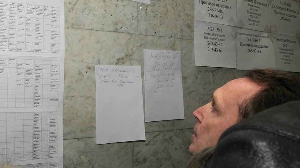 На стене вывешены списки пострадавших при пожаре в клубе «Хромая лошадь» и адреса больниц города.