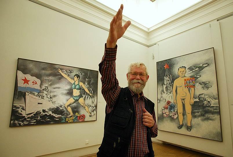 Февраль 2008. Аркадий Петров на своей персональной выставке живописи