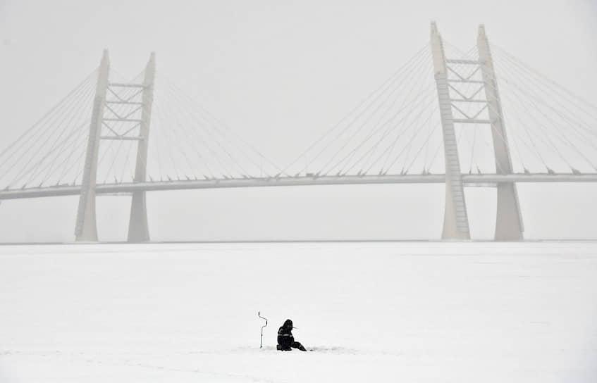 Рыбак во время подледного лова на фоне моста скоростной трассы Западного скоростного диаметра над Финским заливом
