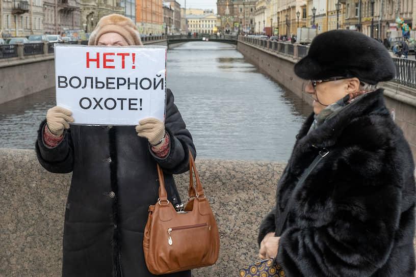 """Женщина в одиночном пикете с плататом """"Нет! Вольерной охоте!"""" на Невском проспекте"""