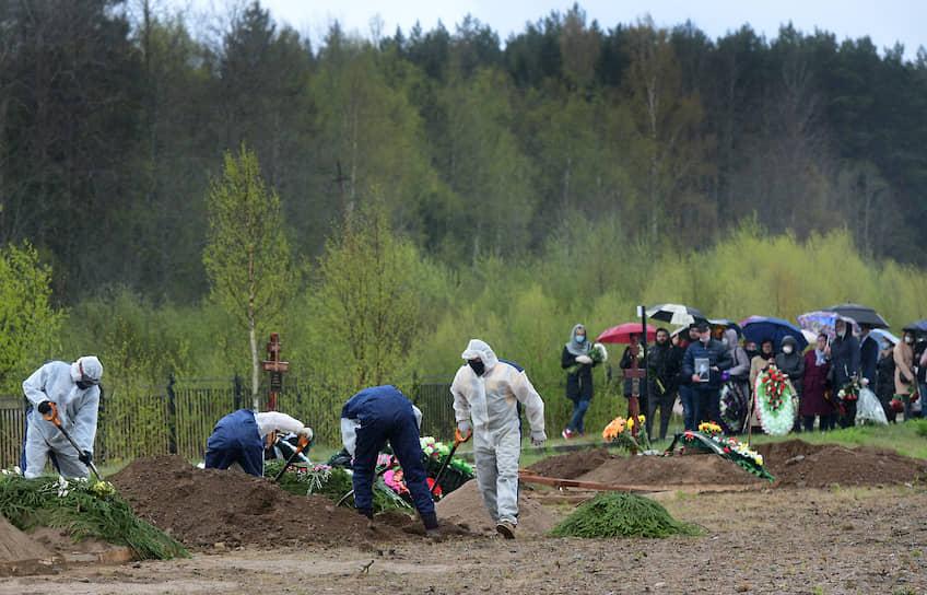 """Сотрудники кладбища """"Илики"""" и родственники женщины, умершей от COVID-19, во время похорон на специальном участке кладбища"""