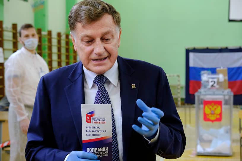 Председатель Законодательного собрания Санкт-Петербурга Вячеслав Макаров после голосования за поправку в Конституцию РФ