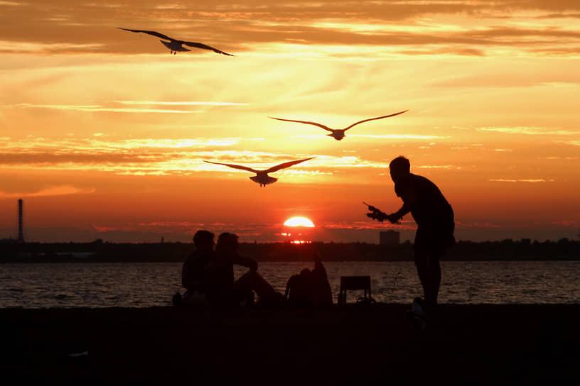 Отдыхающие на берегу Финского залива во время заката солнца