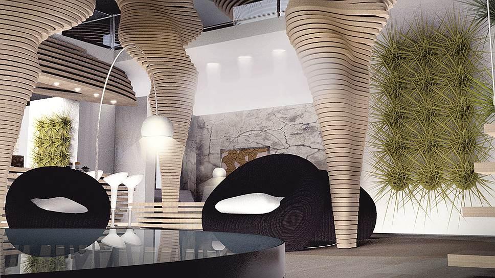 «Природный» интерьер гостиной из проекта, занявшего первое место на конкурсе «Интерьер — дизайн — Neuhaus 2013»