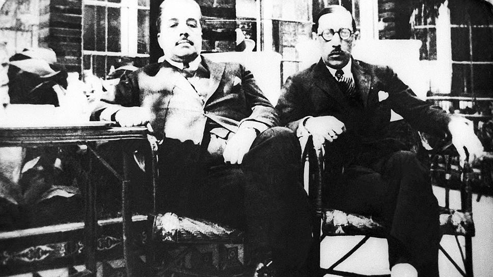 Антрепренер, театральный и художественный деятель, меценат Сергей Дягилев (слева) и композитор Игорь Стравинский, 1921 год
