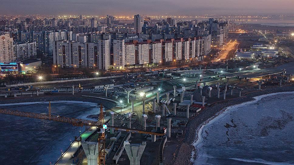 Строительство Западного скоростного диаметра (ЗСД) в районе Крестовского острова идет на намывных территориях