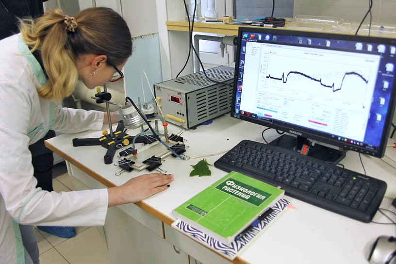 Сотрудник Ботанического сада в лаборатории