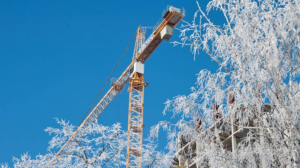 Январь 2011 года. Покрытые инеем деревья на стройплощадке жилого комплекса в Воронеже
