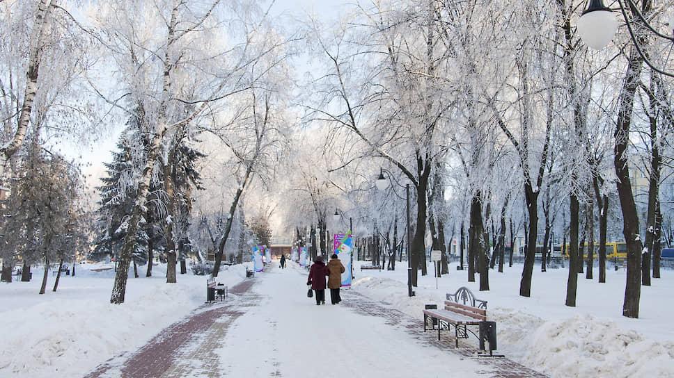 Январь 2011 года. Кольцовский сквер в Воронеже морозным утром после снегопада
