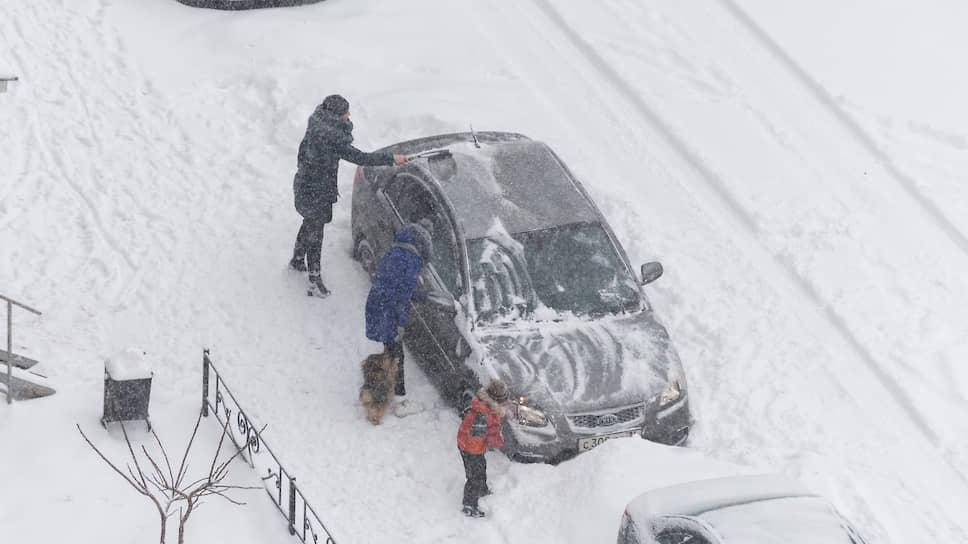 Январь 2018 года. Семья с собакой чистит припаркованный автомобиль во время снегопада в Воронеже