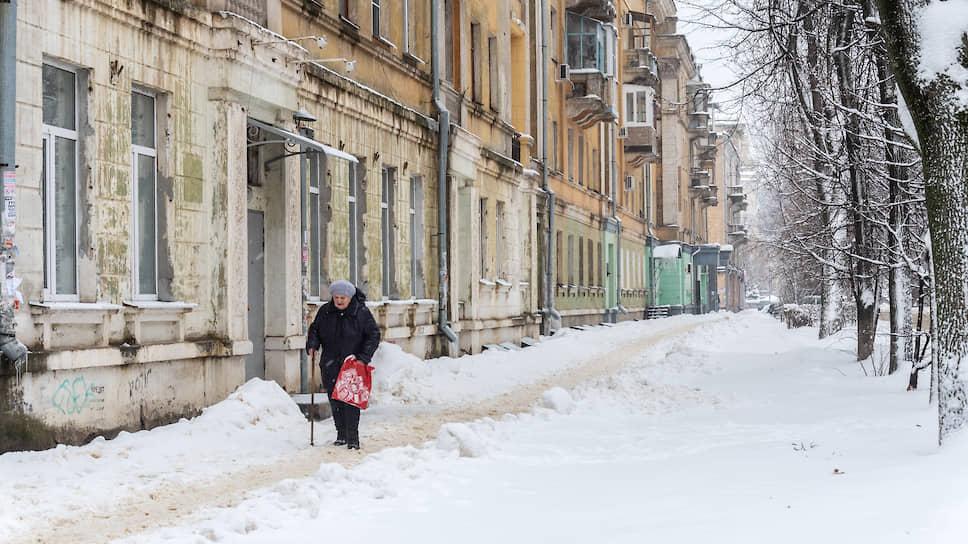 Декабрь 2018 года. Исторический квартал в центре Воронежа после сильного снегопада