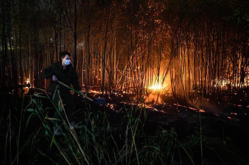 На место пожара в Отрадном приехали и несколько добровольцев с лопатами. Они стали рядом с пожарными забрасывать землей горящую кромку лесополосы