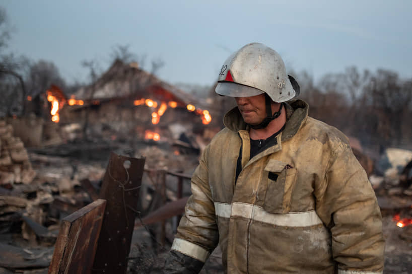 Пожара в селе Мечетка Бобровского района Воронежской области. 13 апреля 2021 года.