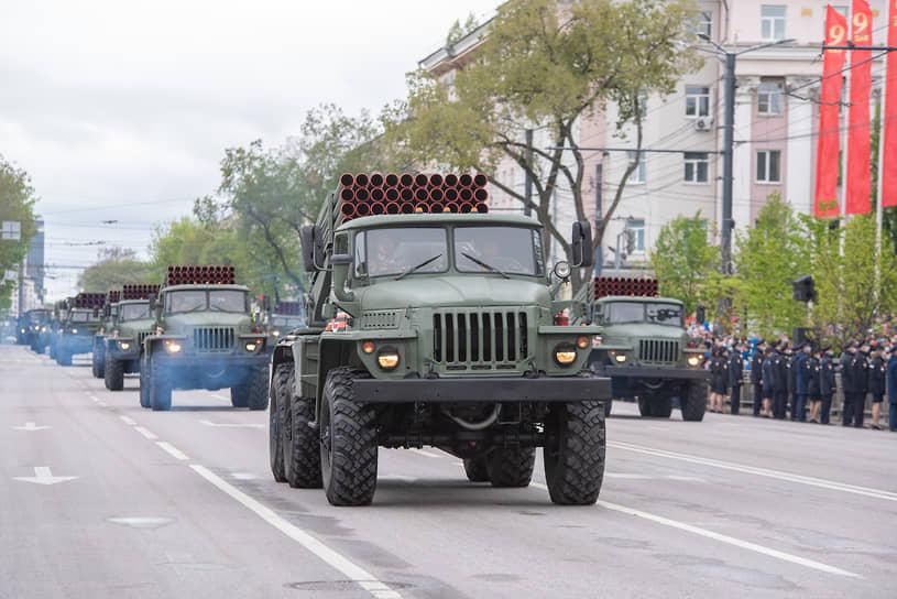 Реактивная система залпового огня «Град» на площади Ленина в Воронеже